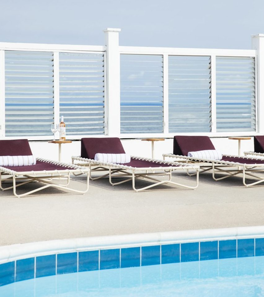 Lounge chairs at outdoor pool