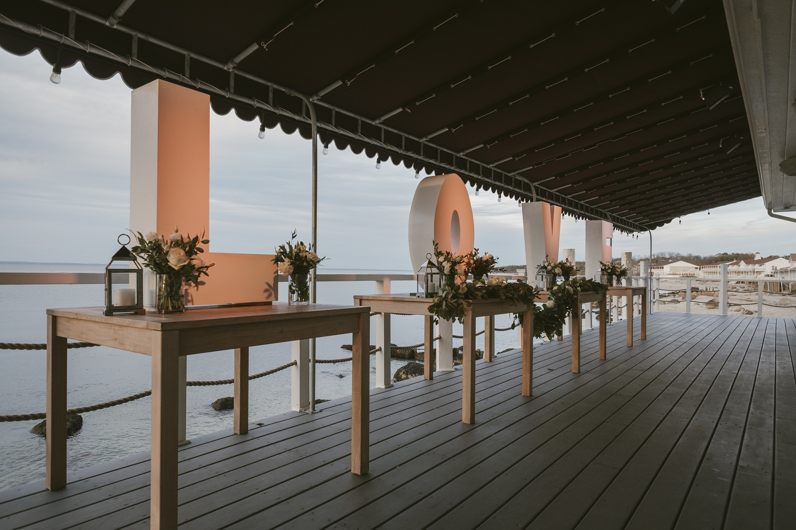 Wedding set up on the waterfront deck