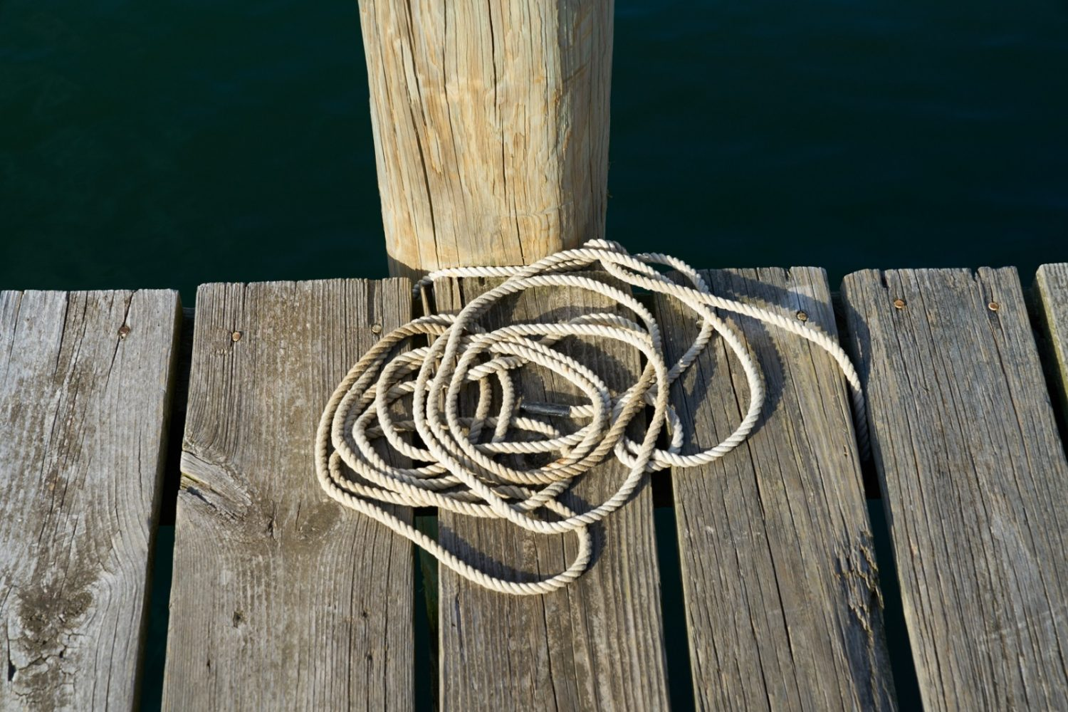 Nautical rope on dock