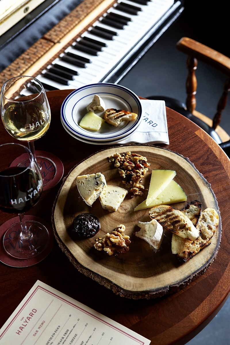 Piano Bar cheese plate and wine