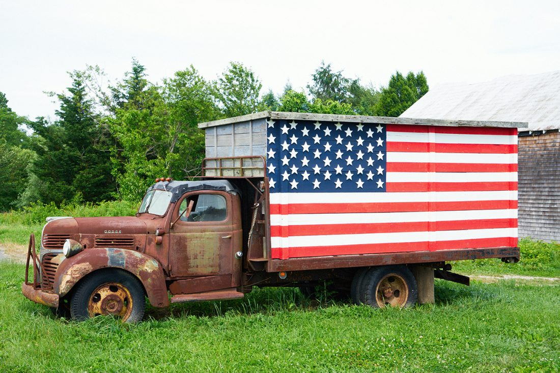 Treiber farms American flag truck