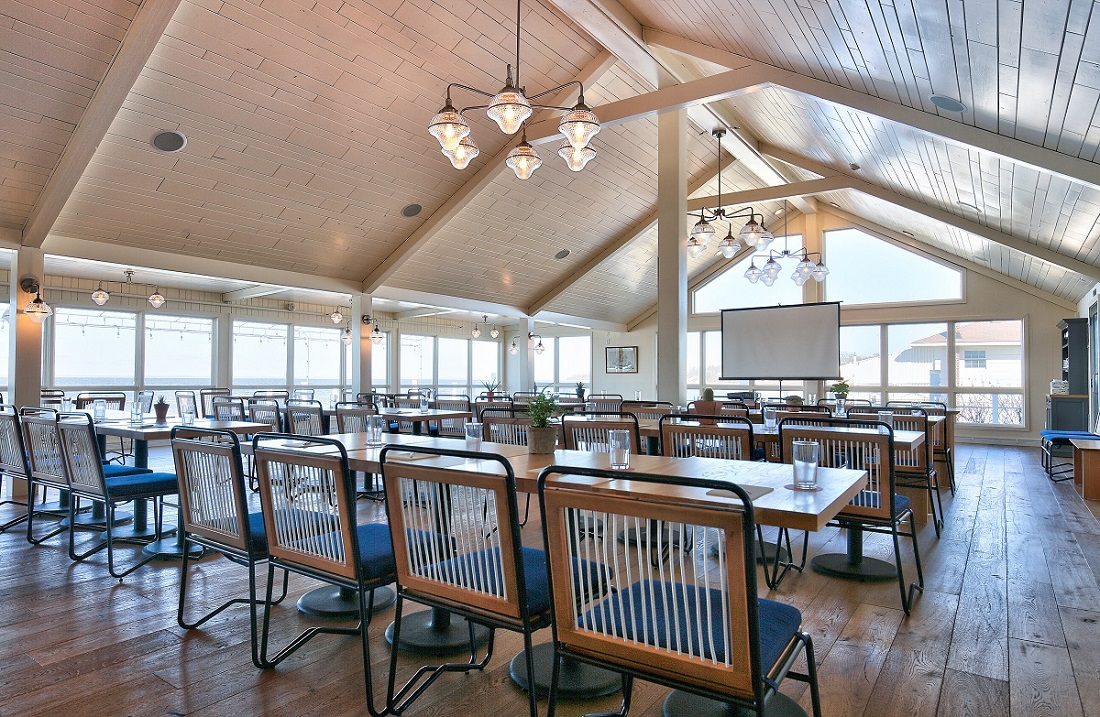 Group meeting setup in the Halyard Dining room