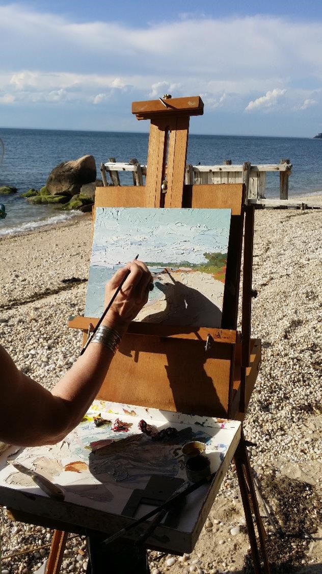 plein air painting on beach