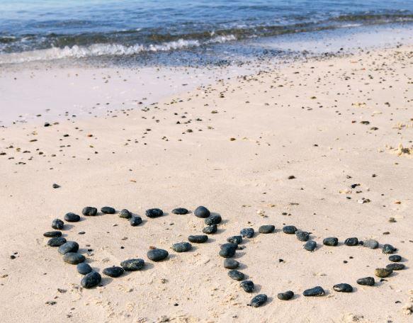 Rock hearts on beach