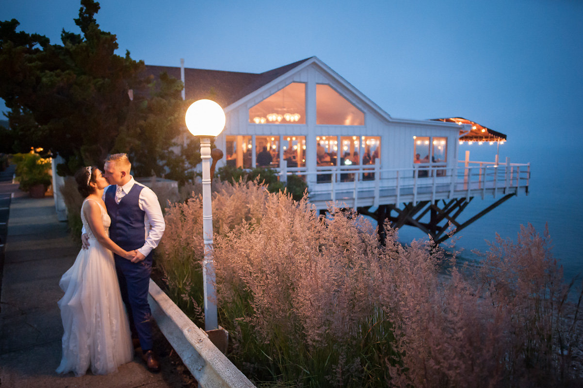 Wedding couple outside Halyard at night