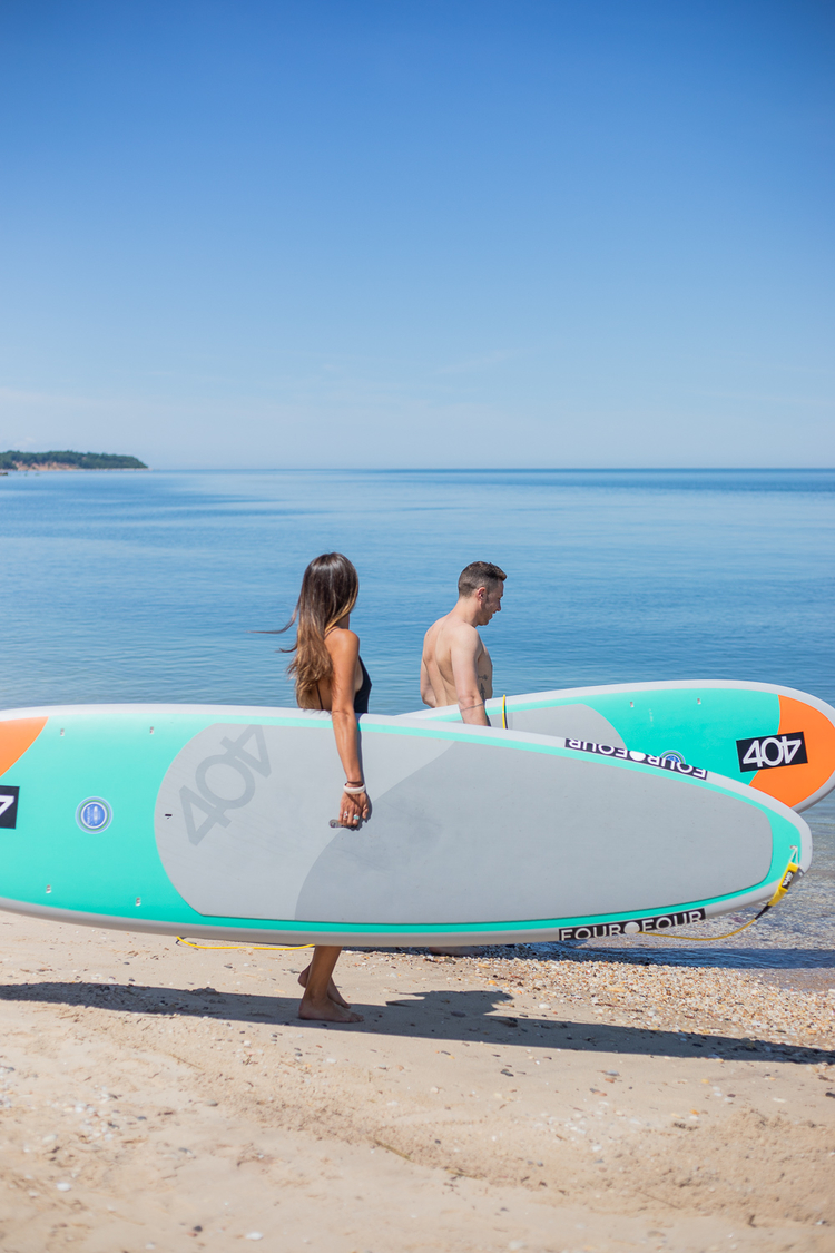 Couple going surfing