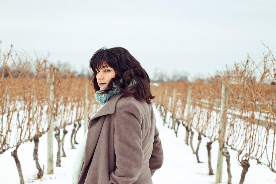 Woman at Vineyard in Winter